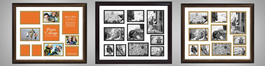 Black collage frames with matting for different photo sizes